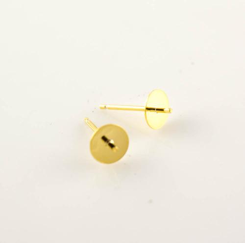 Silberteil 925 vergoldet Ohrstift Teller flach, 6mm Ohrteile zur ...